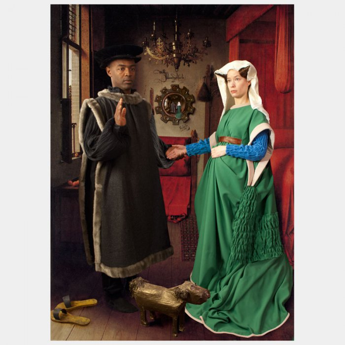 "Ode to Van Eyck's Arnolfini Marriage: The Northern Renaissance, ushered in by Jan van Eyck, replaced the Beautiful Style, which had dominated European art until 1425. Van Eyck popularized the use of oil painting. Tempera, which had been the traditional source for painters until that time, dried more quickly and did not allow for the brilliance of color or delicate nuances that layering with (wet) oil paint enables. While not the first to employ this new technique, van Eyck's use of the medium took it to new heights, allowing for complex shadows and lighting to appear as it does in nature. His work looked so real that one critic noted that it lacked, 'only a voice.' Van Eyck is first recorded in 1422 as working for the Count of Holland, John of Bavaria in The Hague. Van Eyck moved to Bruges to work for the Duke of Burgundy, Phillip the Good, who was the Godfather to one of van Eyck's children. Bruges was one of the principle artistic centers of Europe and it was here where van Eyck was commissioned to create the Arnolfini portrait. The work is often known as the Arnolfini Marriage and yet there is some controversy over this interpretation, as more recent scholars believe that his wife (Giovanna di Nicolao) had died in childbirth by the time this double portrait was finished in 1434. Regardless, this work is thought to be one of the first double full-length portraits in the North. Arnolfini, a silk merchant from Tuscany, was the Medici representative in Bruges. In this work, van Eyck portrays all of Arnolfini's wealth and power—his huge black fur hat, the lavish Anatolian rug, and the lapdog that noblewomen of the day had. As much as Van Eyck's work displays the social status of this couple, he also tells us about the social mores of his day. Giovanna di Nicolao is looking down, in a pose of deference to her husband, a pose, which exudes a humble and pious nature. Unlike the original, E2's ""wife"" does not look diminutive or submissive in the least. Indeed, she has an even greater presence than Arnolfini, one that borders on the domineering."