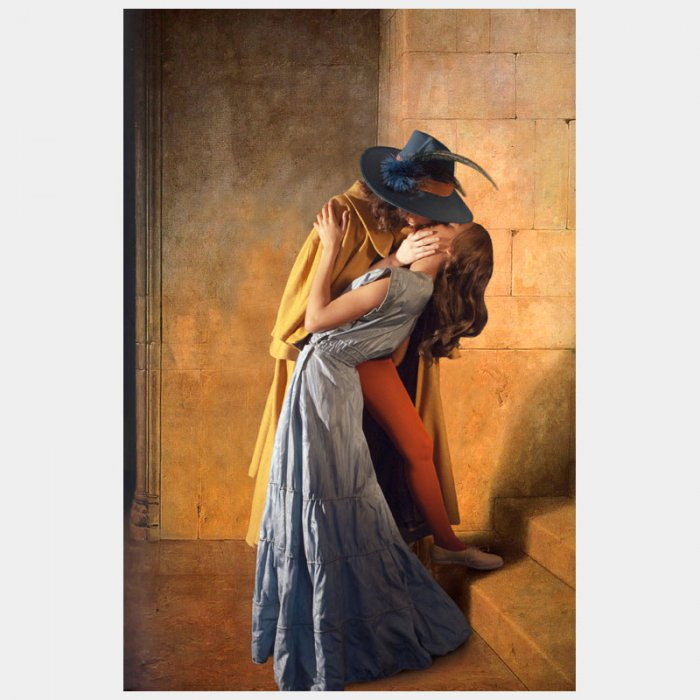 Ode to Hayez' The Kiss: The Kiss is one of the most notorious paintings to show lovers' caught in a deep embrace. It is a work that evokes a sense of intense romantic passion. Hayez, born in 1791, considered The Kiss to be one of his best compositions, for he brought together the main characteristics of Italian Romanticism, namely naturalness and sentiment. Indeed, the great sensuality that exudes from the lovers' embrace can be linked to the fact that the model, Carolina Zucchi, was also Hayez' lover. The Kiss was presented at the Exhibition of Brera in 1859, only three months after the triumphal entrance of Vittorio Emanuele II and Napoleon III in Milan. This event cannot be underestimated in the influence it had on the image, as the colors that Hayez used represented the alliance between France and Italy. This alliance, otherwise known as the Plombiéres Agreement, marked the ending of the Second War of Independence and the birth of the Italian nation.